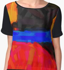 Modern Abstract Color Combination No 10 Women's Chiffon Top