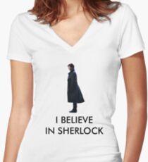 I Believe in Sherlock - White Women's Fitted V-Neck T-Shirt