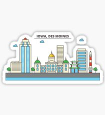 Iowa - Des Moines. Silhouette Skyline Sticker