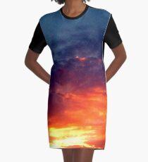 Colorful Dark Sunset Graphic T-Shirt Dress