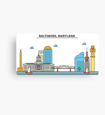 Maryland - Baltimore. Silhouette Skyline Canvas Print