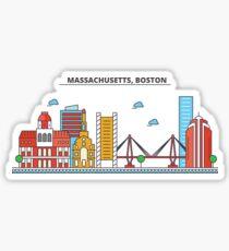 Massachusetts - Boston. Silhouette Skyline Sticker