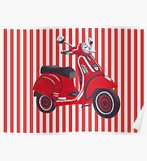 Red Vespa scooter in retro red and white stripes Poster