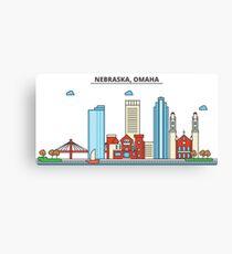 Nebraska - Omaha. Silhouette Skyline Canvas Print