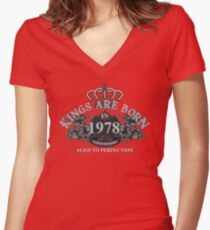 Kings Are Born In 1978 Year Of The Horse Vintage Style - Birthday Gifts For Men Women's Fitted V-Neck T-Shirt