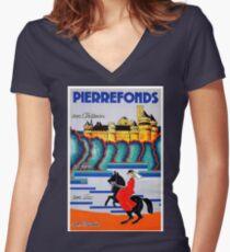 Château de Pierrefonds, France, vintage travel postcard Women's Fitted V-Neck T-Shirt