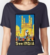 See India, illustration, vintage travel poster Women's Relaxed Fit T-Shirt