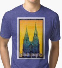 Champagne, Reims, cathedral, France,vintage travel poster Tri-blend T-Shirt