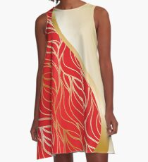 Red and Gold waves A-Line Dress