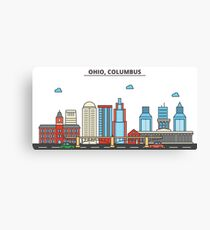 Ohio - Columbus. Silhouette Skyline Canvas Print