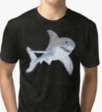 Great White Shark Fanciful Aquatic Watercolor Tri-blend T-Shirt