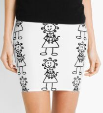 The Girl with the Curly Hair Holding Cat - White Mini Skirt