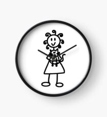 The Girl with the Curly Hair Holding Cat - White Clock