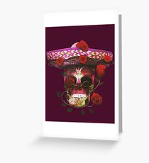 Mexican Skull watercolor flower rose Greeting Card