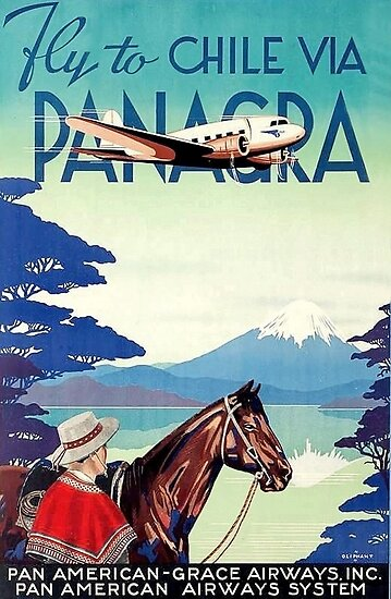 Fly to Chile, airliner, vintage travel poster by AmorOmniaVincit