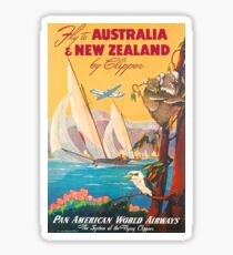 Fly to Australia and New Zealand, airline poster Sticker