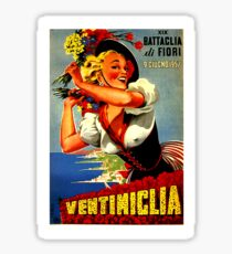 Ventimiglia, city, Italy, happy woman with flowers poster Sticker