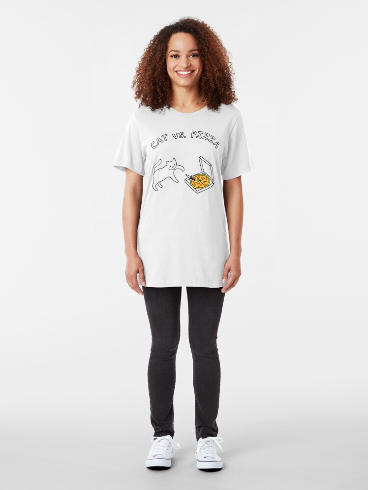 Alternate view of CAT vs. PIZZA Slim Fit T-Shirt