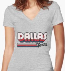 Dallas, TX | City Stripes Women's Fitted V-Neck T-Shirt