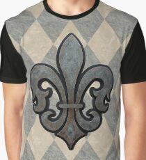 Fleur de Lis with Gray Harlequin Background Graphic T-Shirt