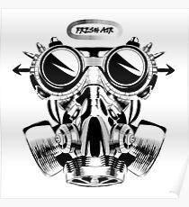 Steampunk vintage design vector drawing. gas mask punk respirator. Poster