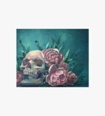 Skull and Peonies Art Board