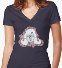 Cute grunge girl with black cats pattern on pink Women's Fitted V-Neck T-Shirt