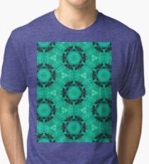 Mint Hexagons & Stars Pattern Tri-blend T-Shirt