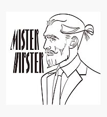 Vector illustration of a modern man in a pop art, comic style with signature Mister Hipster.  Photographic Print