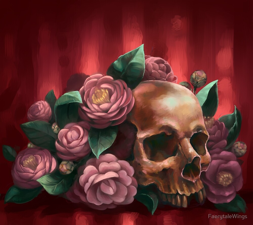 Skull and Camellias by FaerytaleWings