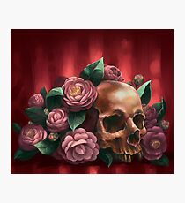 Skull and Camellias Photographic Print