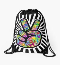 Funky Peace Sign Starburst Drawstring Bag