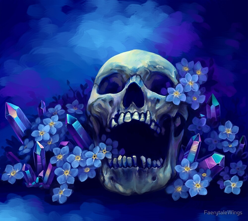 Skull and Forget-me-nots by FaerytaleWings