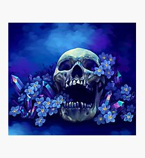 Skull and Forget-me-nots Photographic Print
