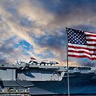 USS YORKTOWN AND AMERICAN FLAG by TJ Baccari Photography