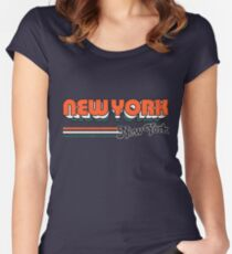 New York, NY | City Stripes Women's Fitted Scoop T-Shirt