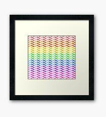 "Rainbow ""3D"" Zigzag Stripes Framed Print"