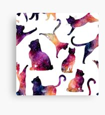 Watercolor Colorful Galaxy and Cats Canvas Print