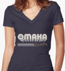 Omaha, NE | City Stripes Women's Fitted V-Neck T-Shirt