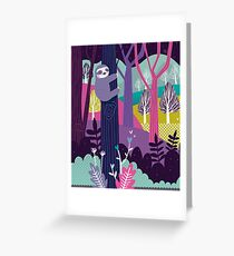 Sloth in colorful woods Greeting Card