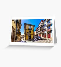 Colorful decorated facades of traditional portugal street, panoramic view, vivid colors Greeting Card