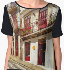 Colorful decorated facades of traditional portugal street, sunny and vivid colors Women's Chiffon Top