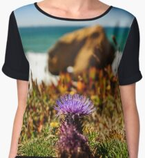 Blossom flowers on ocean coastline in Portugal, summer time, beauty in nature Women's Chiffon Top