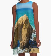 Yellow rocks and sand on portuguese coastline, vivid ocean water, panoramic view A-Line Dress