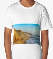 Yellow rocks and sand on portuguese coastline, vivid ocean water, panoramic view Long T-Shirt