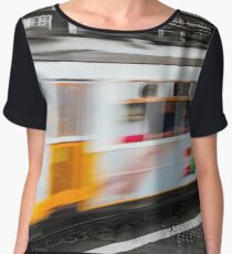 Classical Lisbon colorized touristic tram on the street, moving view. Women's Chiffon Top