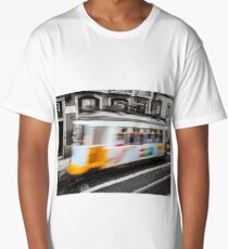 Classical Lisbon colorized touristic tram on the street, moving view. Long T-Shirt
