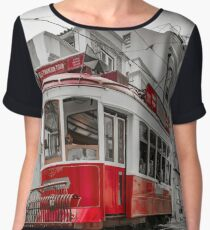 Editorial: 8th June 2017: Lisbon, Portugal:  Classical colorized touristic tram on the street, perspective view. Women's Chiffon Top