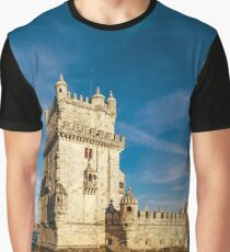 Beautiful ancient Belem tower panoramic view at sunset, Lisbon, Portugal Graphic T-Shirt