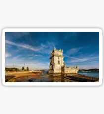 Beautiful ancient Belem tower panoramic view at sunset, Lisbon, Portugal Sticker